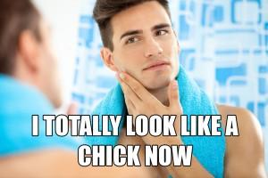 clean shaven face